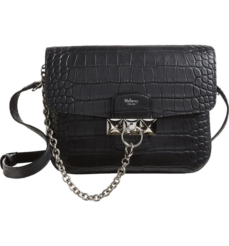 MULBERRY Keeley Croc Embossed Leather Satchel, Main, color, BLACK