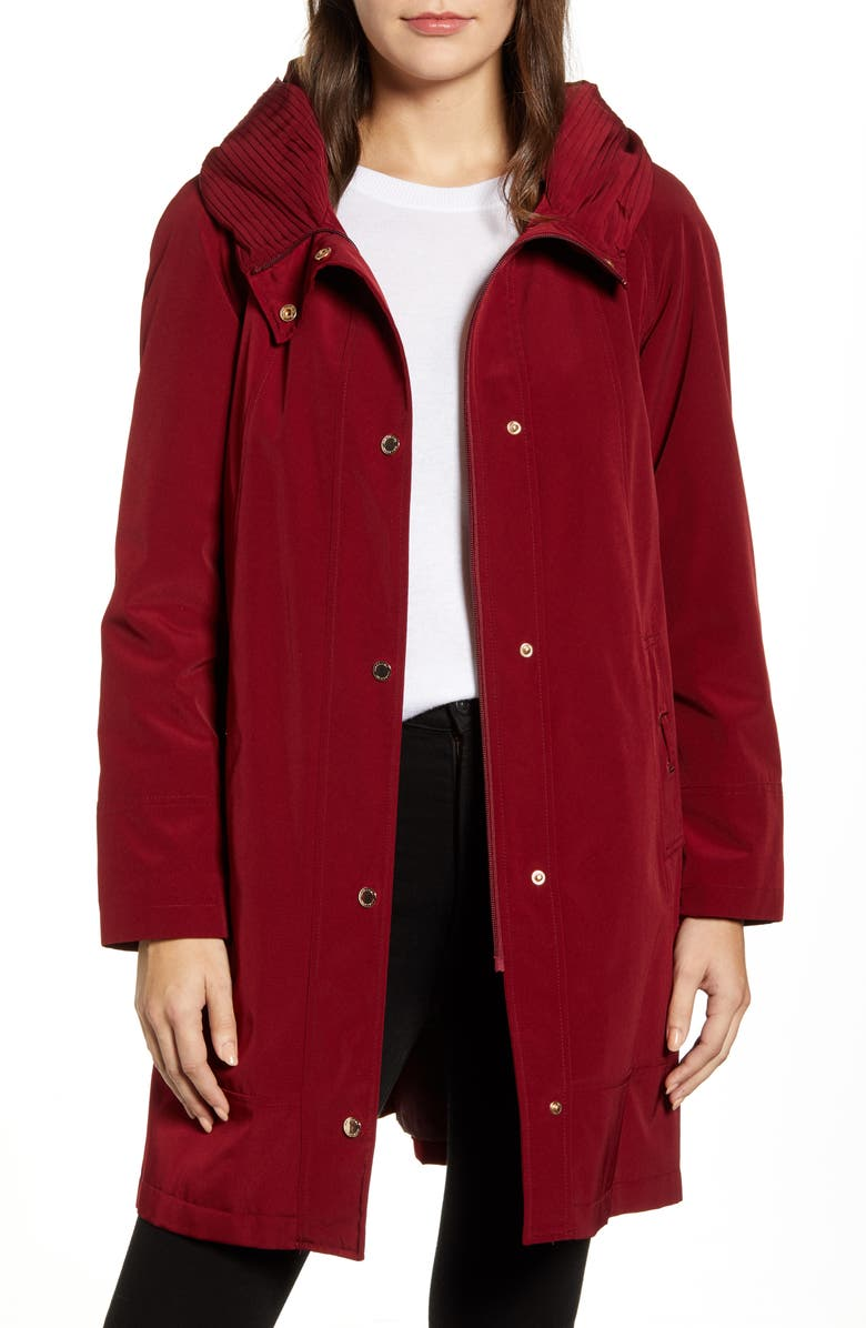 GALLERY Hooded Raincoat with Removable Liner, Main, color, BLACKBERRY
