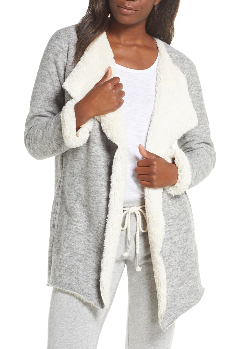 UGG<SUP>®</SUP> Abriana Fleece Lined Cardigan, Main, color, GREY HEATHER
