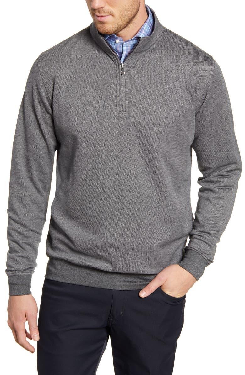 PETER MILLAR Crown Comfort Quarter Zip Pullover, Main, color, IRON