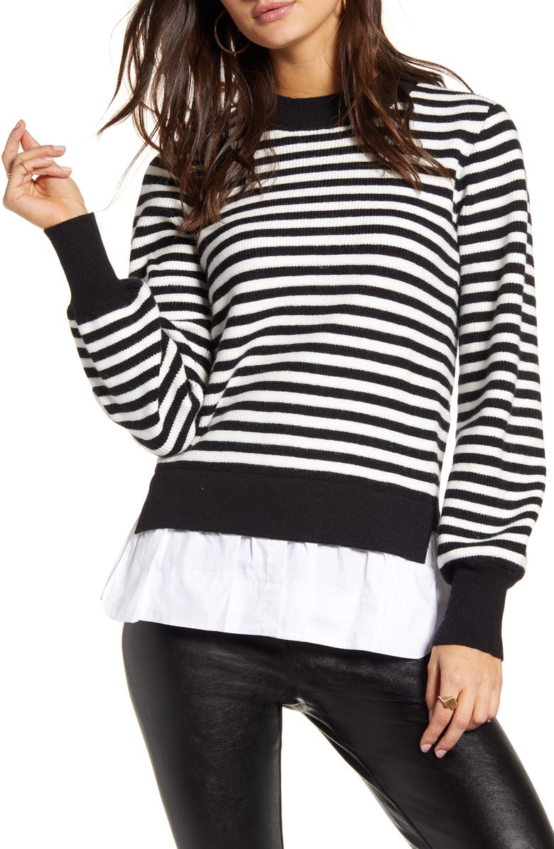 ENGLISH FACTORY Striped Contrast Sweater, Main, color, BLACK