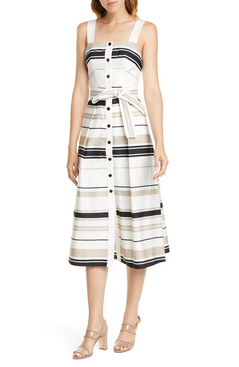 KAREN MILLEN Stripe Sundress, Main, color, BLACK/ WHITE