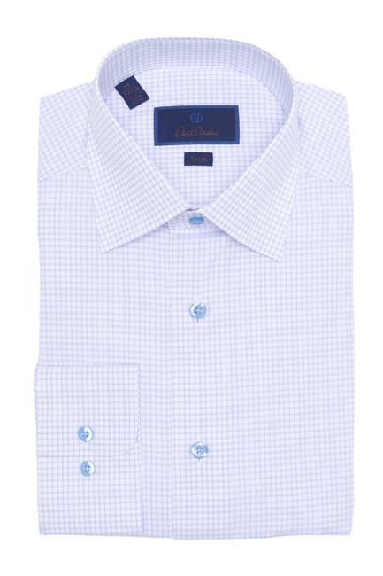 Image of David Donahue Trim Fit Pattern Dress Shirt