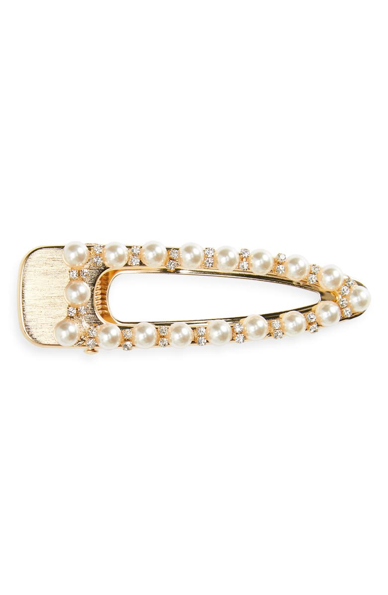 8 OTHER REASONS Belle Imitation Pearl Hair Clip, Main, color, GOLD