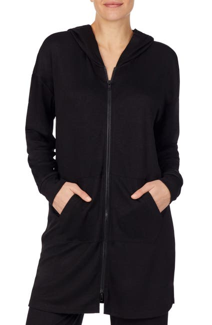 Image of Refinery29 Double Knit Mid Thigh Zip Front Jacket