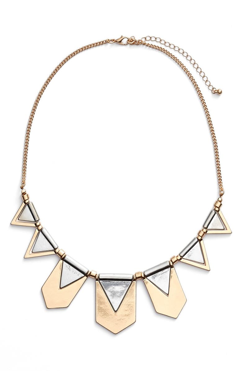 BP. Two Tone Geometric Statement Necklace, Main, color, 710