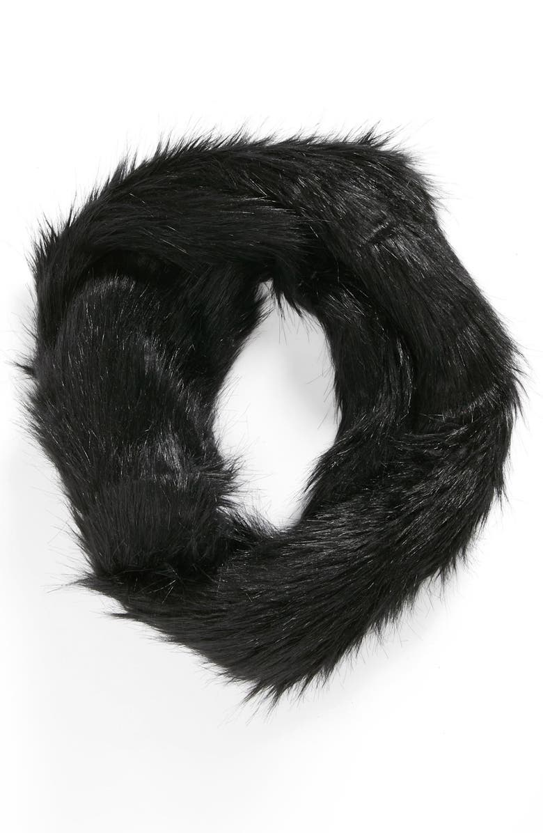 LULU Faux Fur Infinity Scarf, Main, color, 001