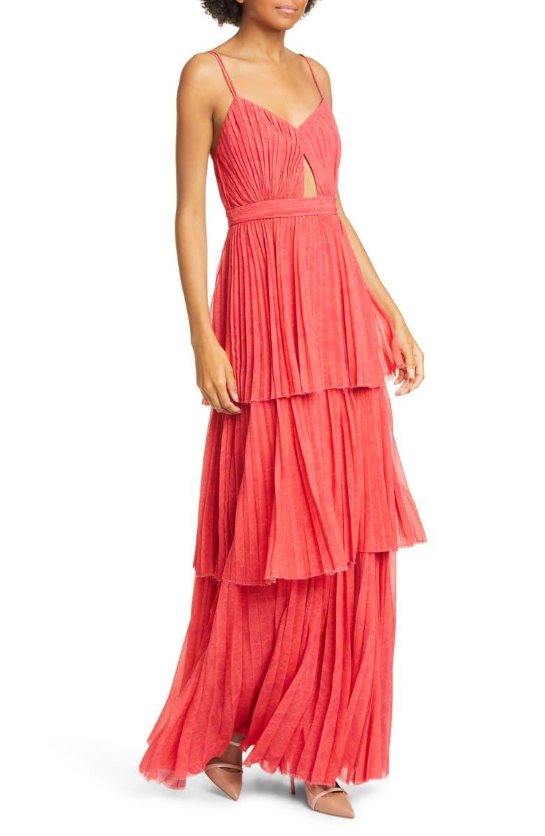 AMUR Dominique Lace Print Tiered Maxi Dress, Main, color, 650