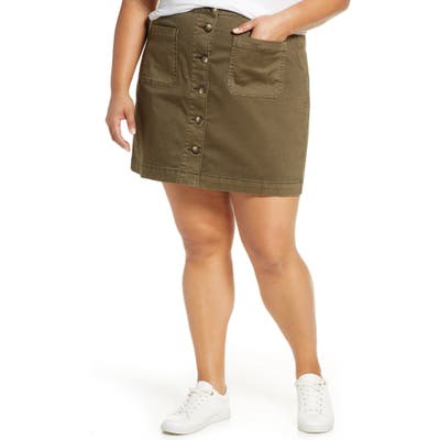 Plus Size Caslon Stretch Cotton Twill Skirt, 0 (similar to 18W) - Green
