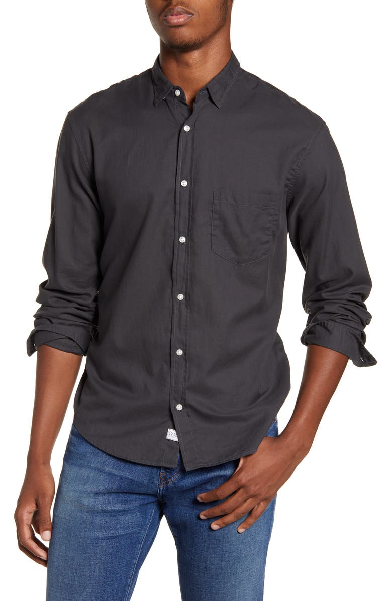 FRANK & EILEEN Don Regular Fit Solid Button-Up Sport Shirt, Main, color, BLACK
