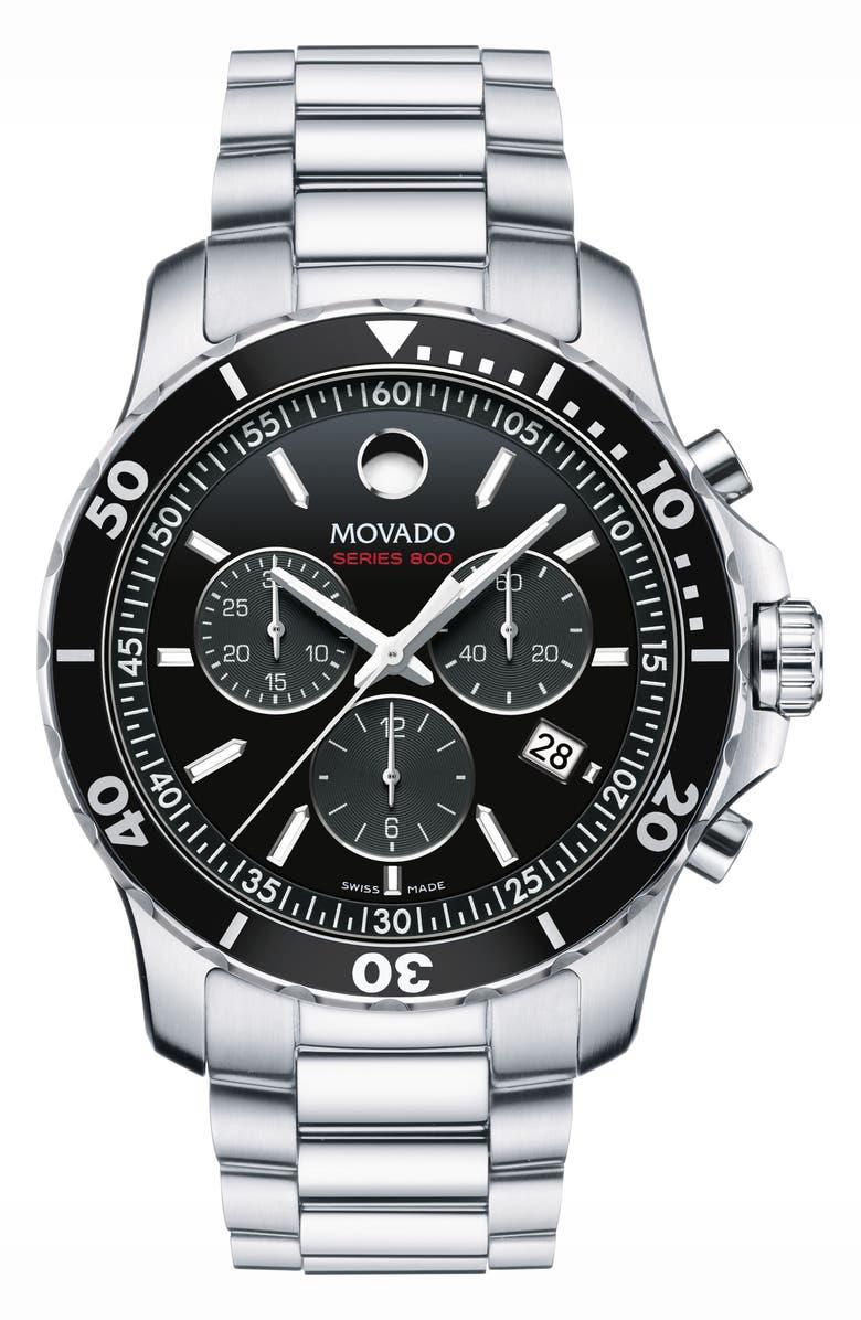 MOVADO 'Series 800' Chronograph Bracelet Watch, 42mm, Main, color, SILVER/ BLACK/ SILVER