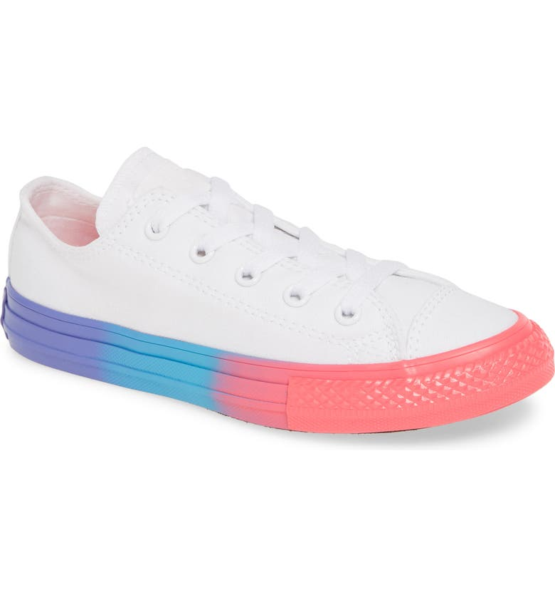 CONVERSE Chuck Taylor<sup>®</sup> All Star<sup>®</sup> Rainbow Sole Sneaker, Main, color, WHITE/ RACER PINK/ BLACK
