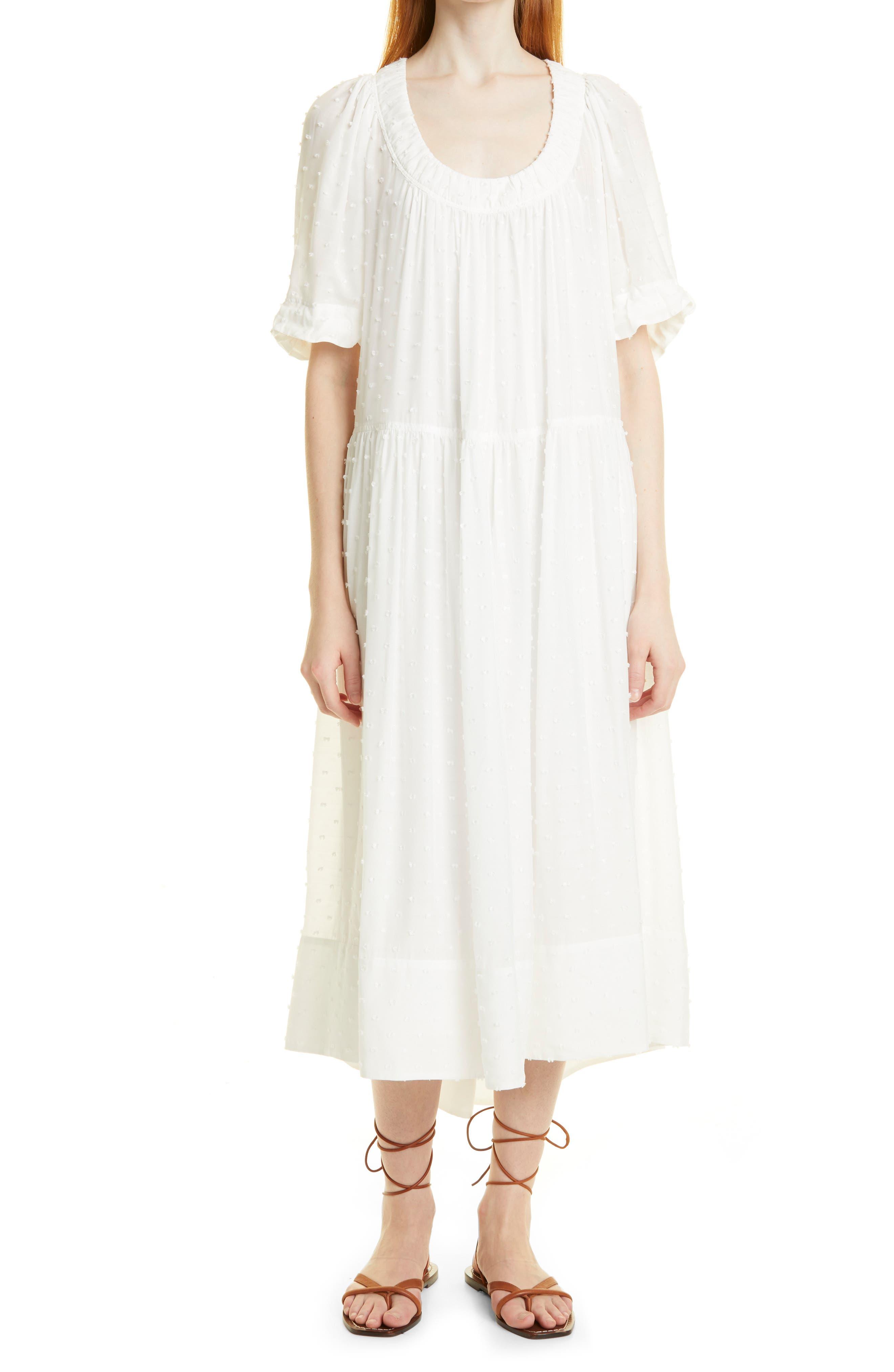 Clip Dot Cotton & Silk Shift Dress