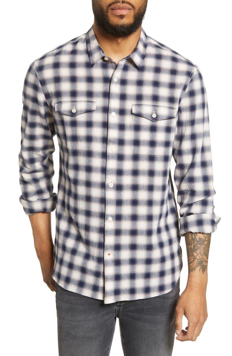 JOHN VARVATOS STAR USA Dale Regular Fit Plaid Button-Up Shirt, Main, color, 400