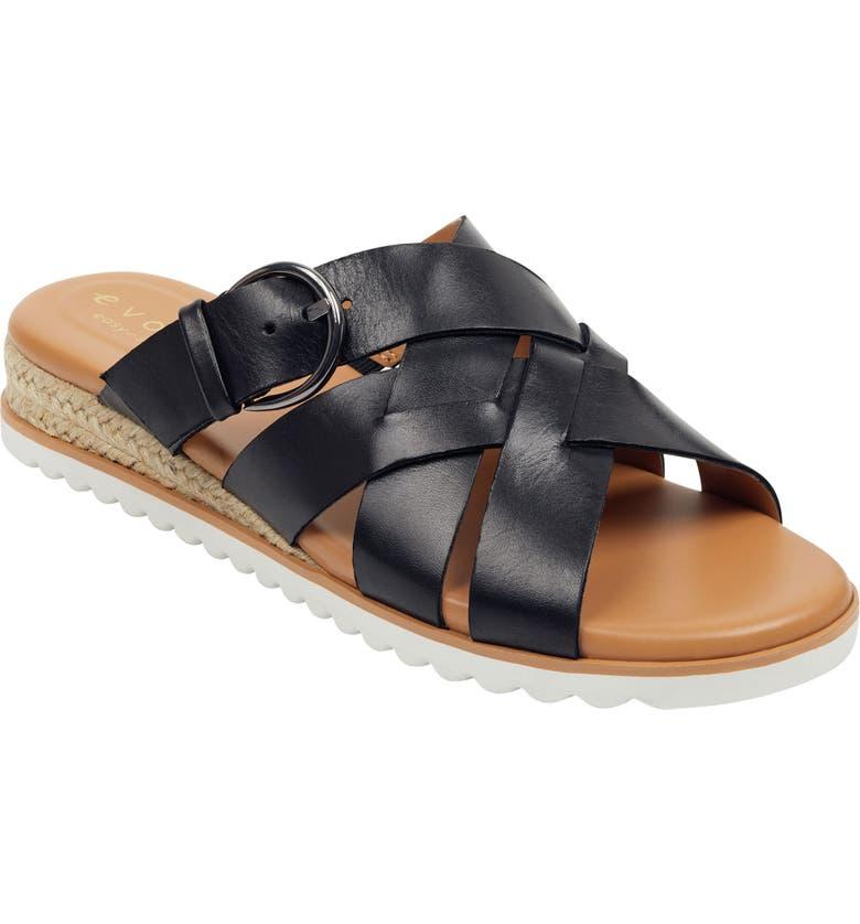 EVOLVE Pace Slide Sandal, Main, color, BLACK LEATHER