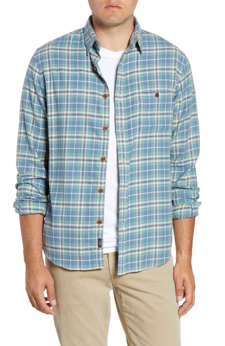 FAHERTY Seaview Regular Fit Plaid Button-Up Twill Shirt, Main, color, DUSTY OCEAN PLAID