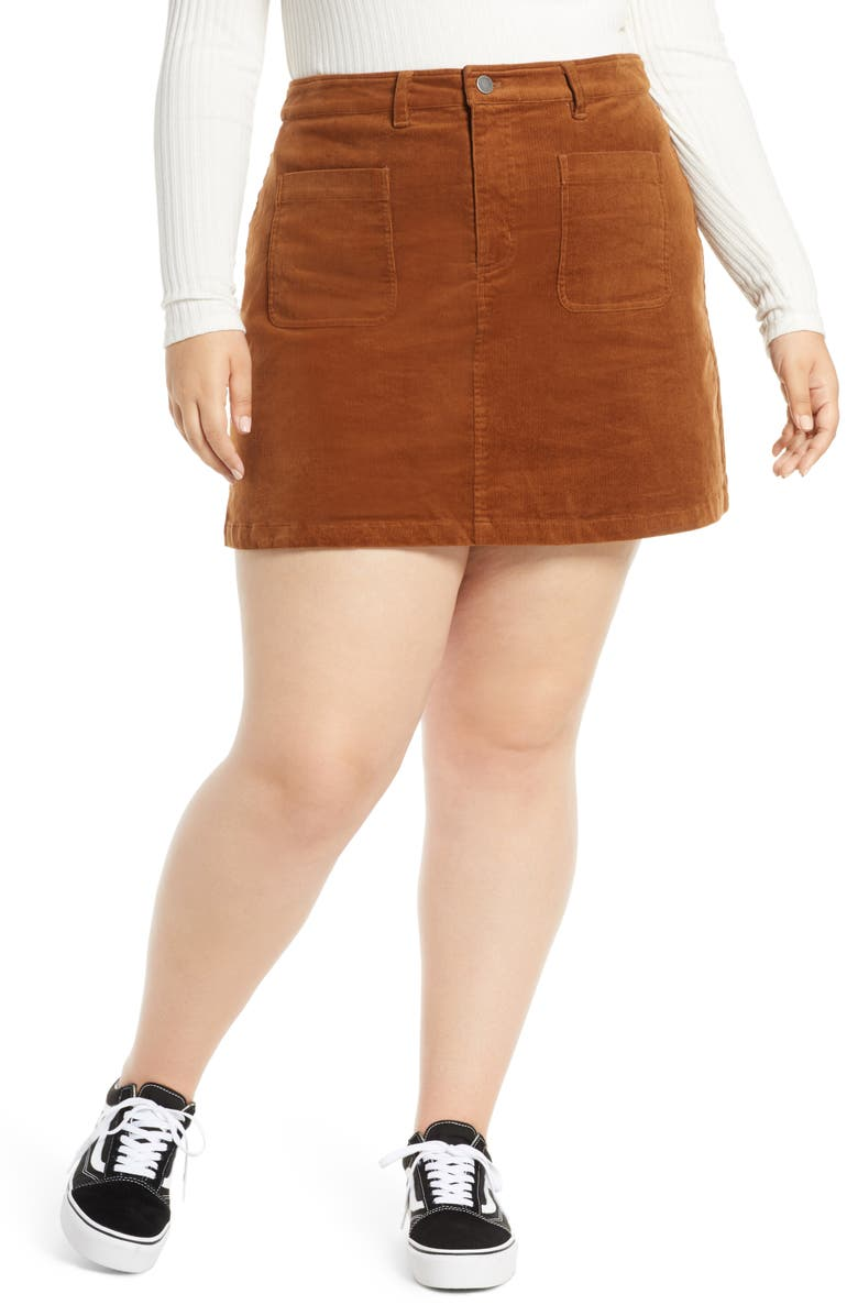 BP. High Waist Corduroy Miniskirt, Main, color, BROWN DACHSHUND