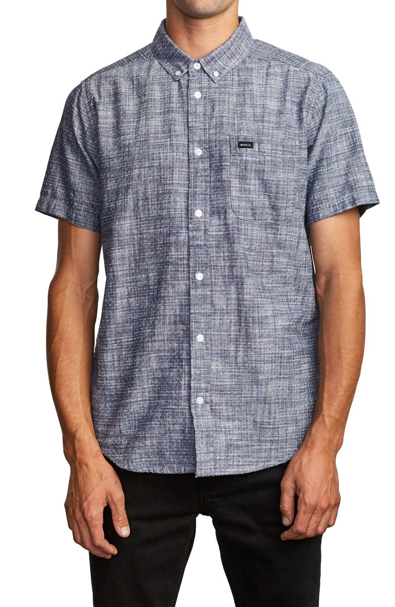 RVCA That'll Do Dobby Short Sleeve Button-Down Shirt, Main, color, INDIGO