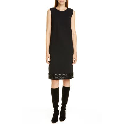 Lafayette 148 New York Morganna Sequin Hem Wool Shift Dress, Black