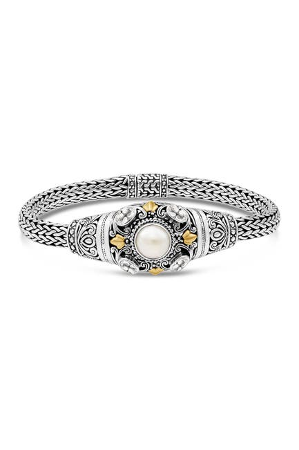 Image of DEVATA Sterling Silver Bali Filigree White Topaz 8mm Freshwater Cultured Pearl Woven Dragon Bone Oval Chain Bracelet