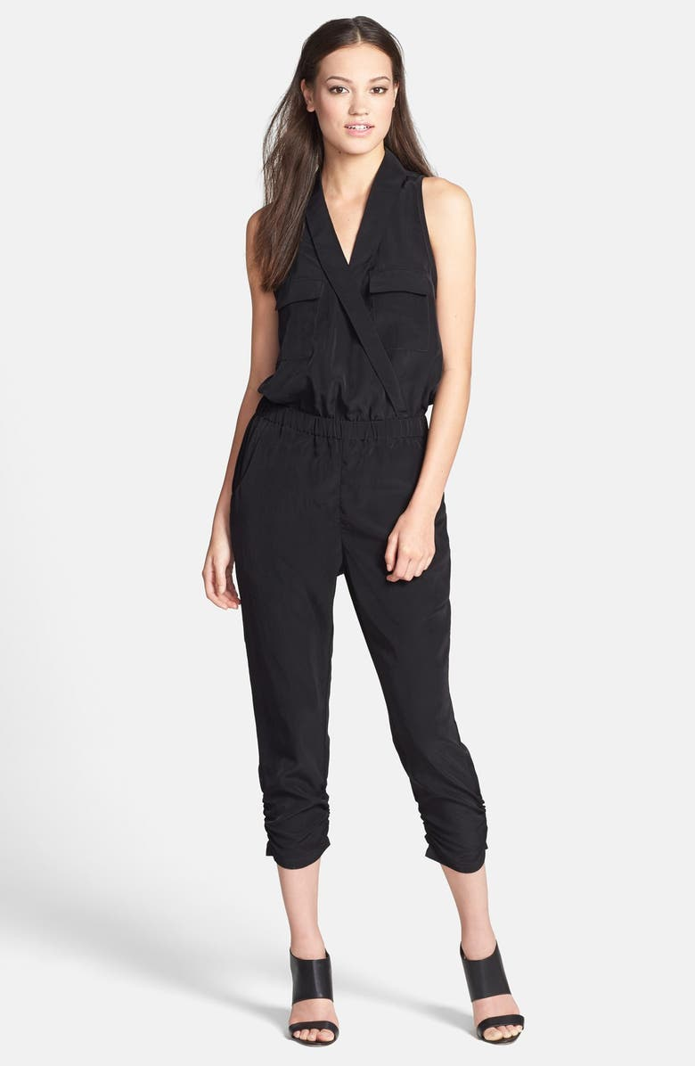 HARLOWE AND GRAHAM Lapel Sleeveless Jumpsuit, Main, color, 001
