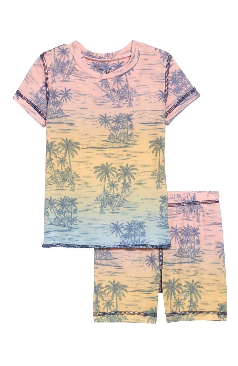 PJ SALVAGE Tropical Print Two-Piece Pajamas, Main, color, MULTI