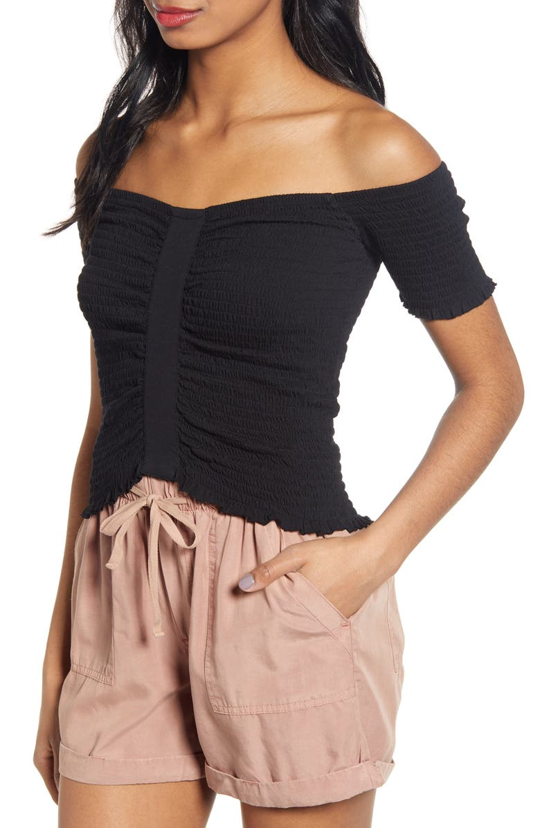 BP. Smocked Off the Shoulder Top, Main, color, 001