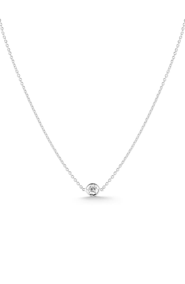 ROBERTO COIN Tiny Treasures Diamond Bezel Necklace, Main, color, WHITE