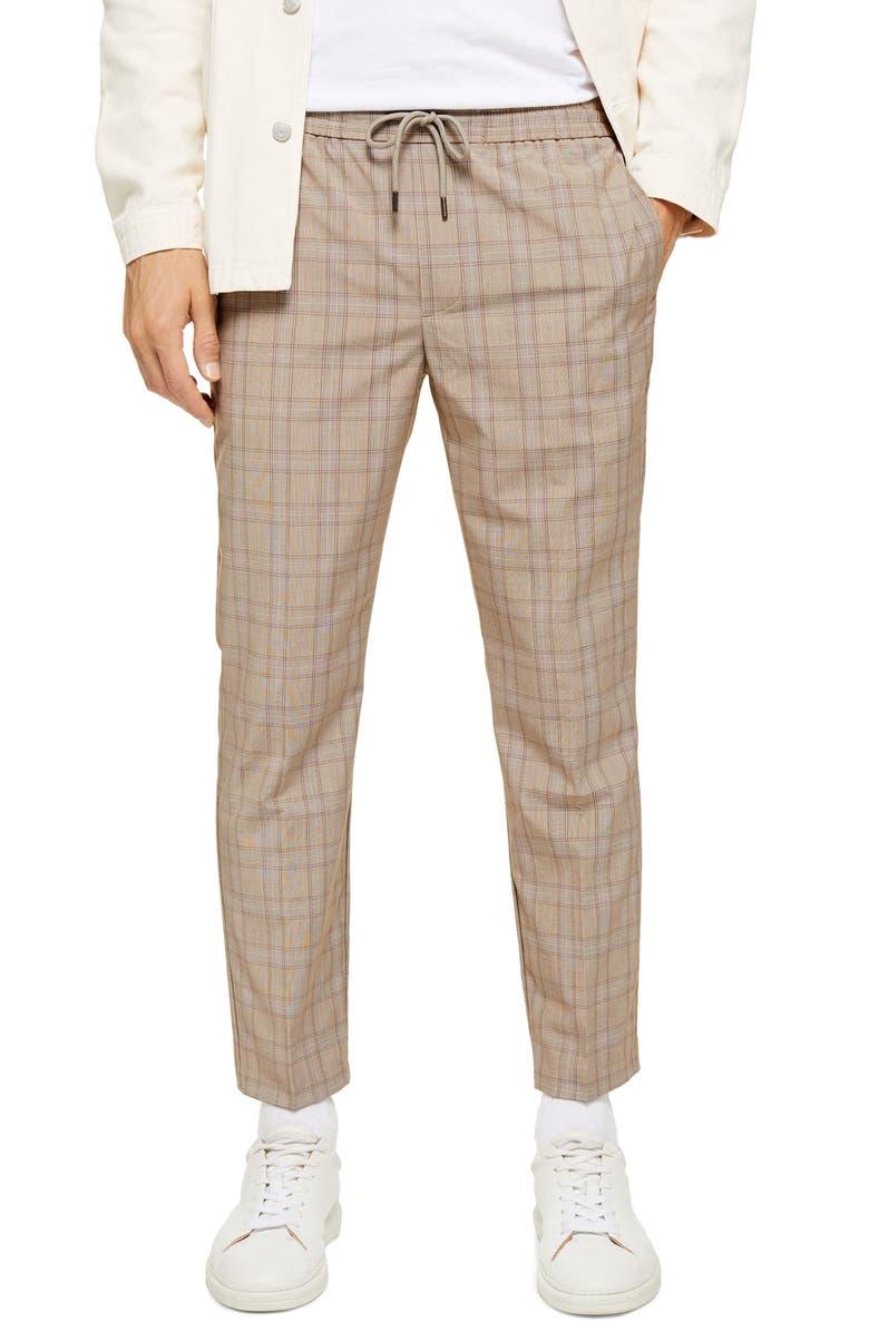 TOPMAN Cola Sidey Drawstring Plaid Pants, Main, color, STONE