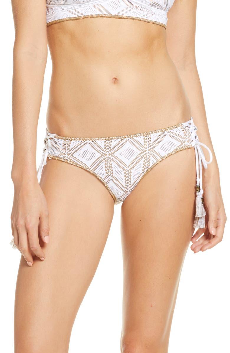 BECCA Wanderlust Hipster Bikini Bottoms, Main, color, WHITE/ TAN