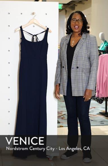 Square Neck Tie Back Crepe Evening Dress, sales video thumbnail