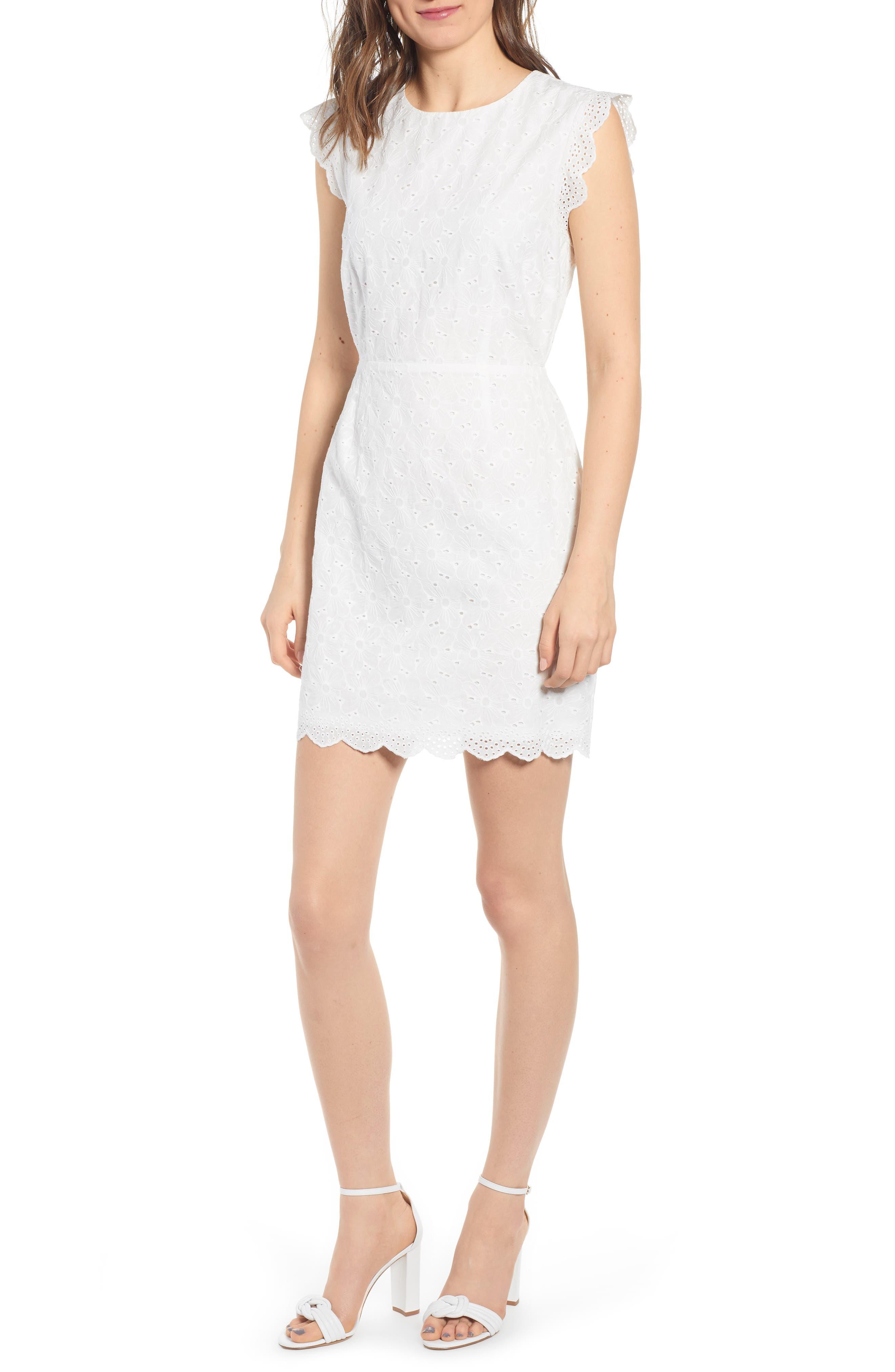 Cupcakes And Cashmere Keren Eyelet Minidress, White