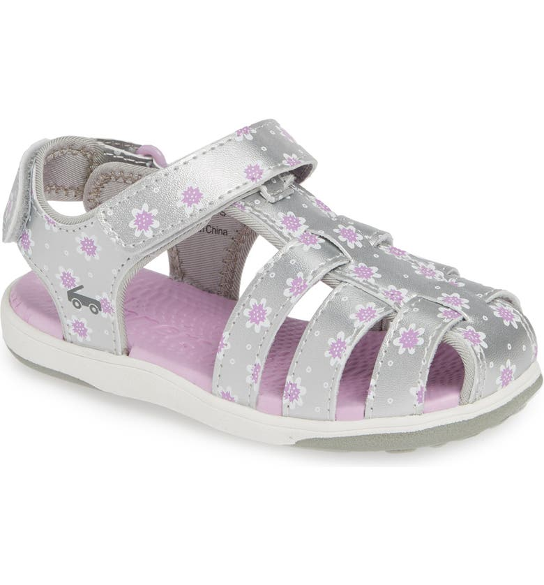 SEE KAI RUN Paley II Floral Fisherman Sandal, Main, color, SILVER/ PURPLE