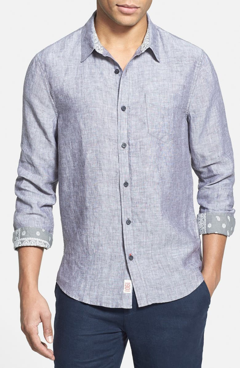 1901 'Shelton' Trim Fit Linen Woven Shirt, Main, color, 021