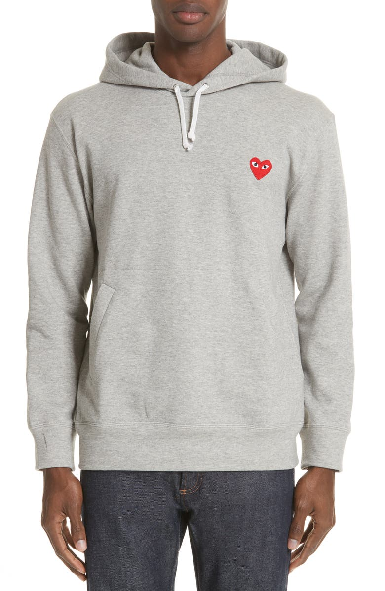 COMME DES GARÇONS PLAY Red Heart Hoodie, Main, color, GREY