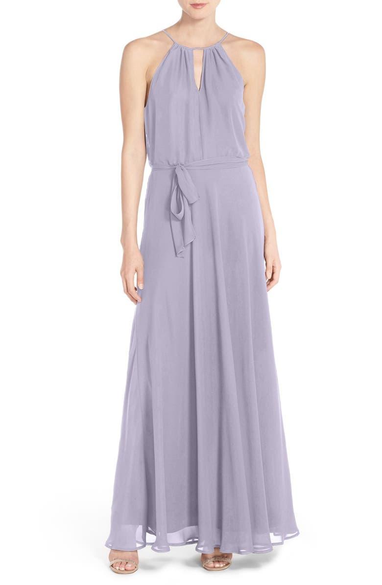 NOUVELLE AMSALE Halter Keyhole Neck Chiffon Gown, Main, color, 530