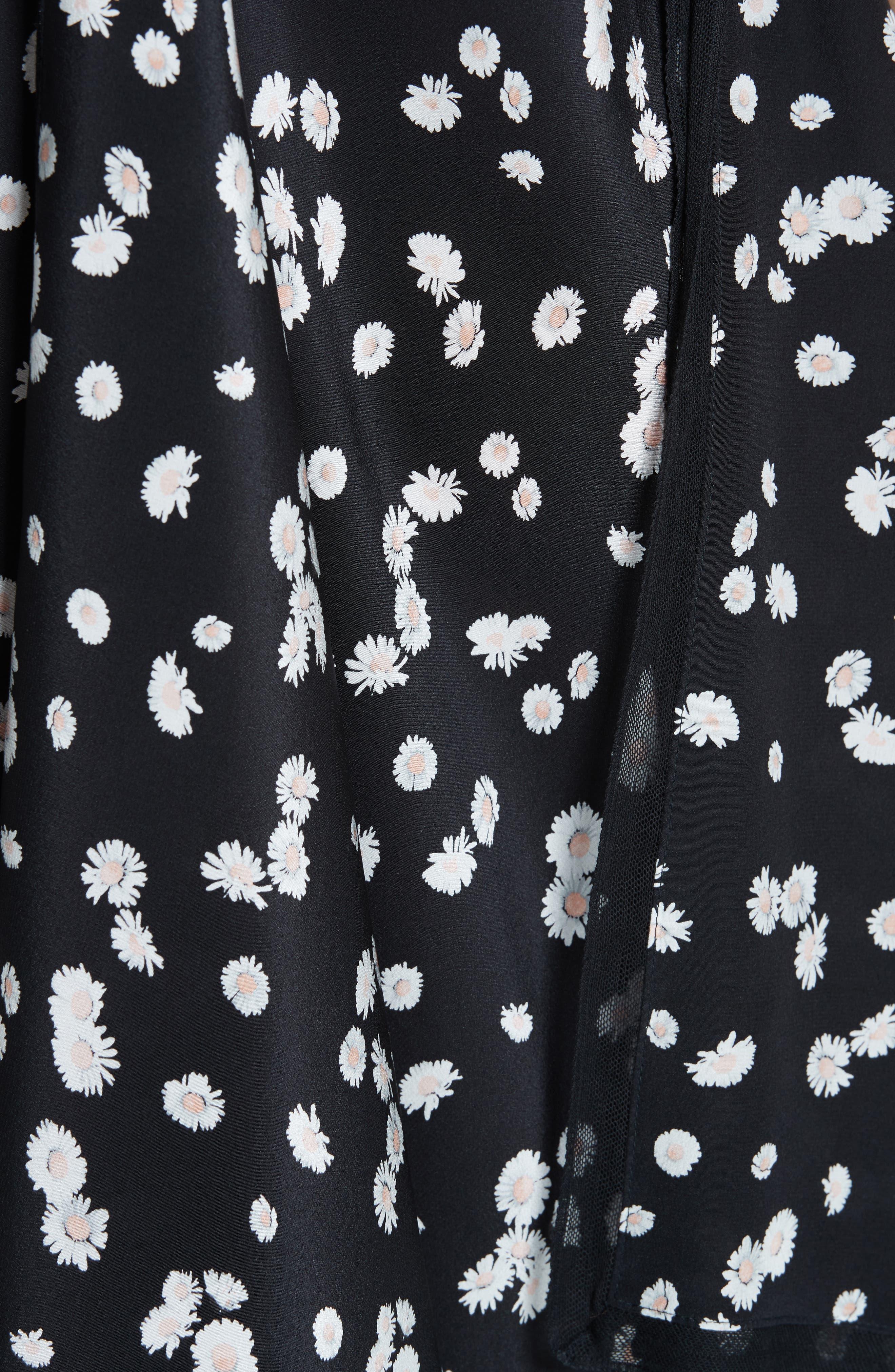 ,                             Spring Daisy Handkerchief Hem Dress,                             Alternate thumbnail 6, color,                             BLACK MULTI