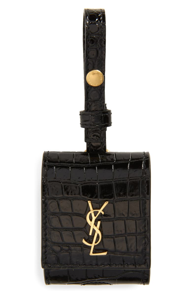SAINT LAURENT Croc Embossed Leather AirPod Case, Main, color, 001