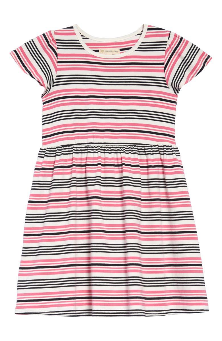 TUCKER + TATE Flutter Sleeve Dress, Main, color, IVORY EGRET MULTI STRIPE