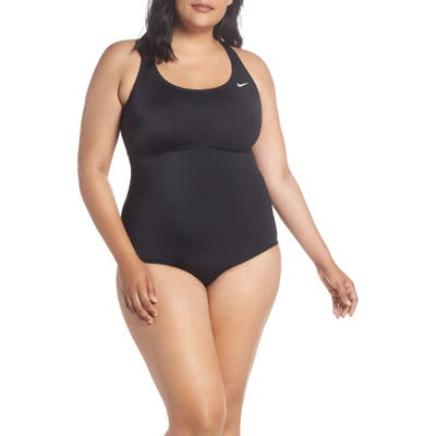 Plus Size Nike One-Piece Racerback Swimsuit, Black
