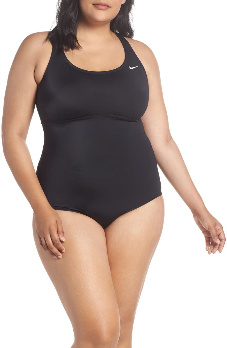 NIKE One-Piece Racerback Swimsuit, Main, color, BLACK