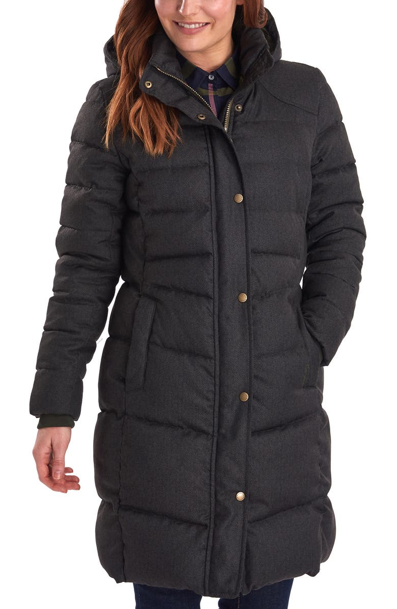 BARBOUR Lonnen Herringbone Channel Quilted Hooded Coat, Main, color, 340