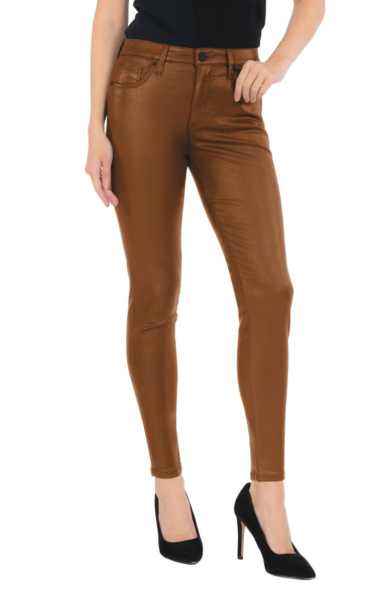 KUT FROM THE KLOTH Donna Coated High Waist Ankle Skinny Jeans, Main, color, COGNAC