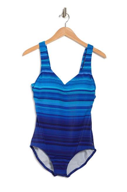 Image of Reebok Raise The Line Stripe One-Piece Swimsuit