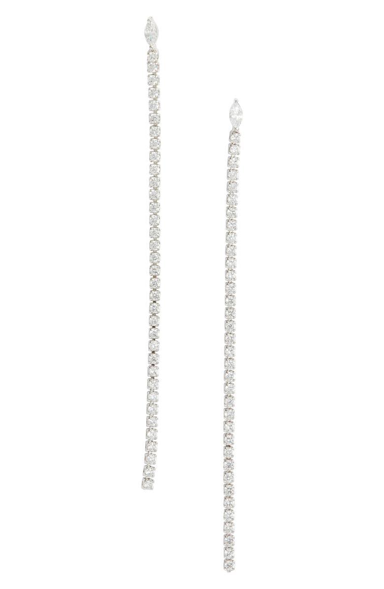 NORDSTROM Cubic Zirconia Linear Drop Earrings, Main, color, CLEAR- SILVER
