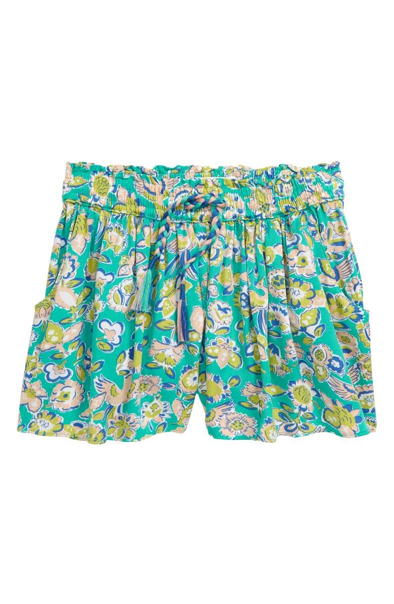 MINI BODEN Pretty Print Shorts, Main, color, 454