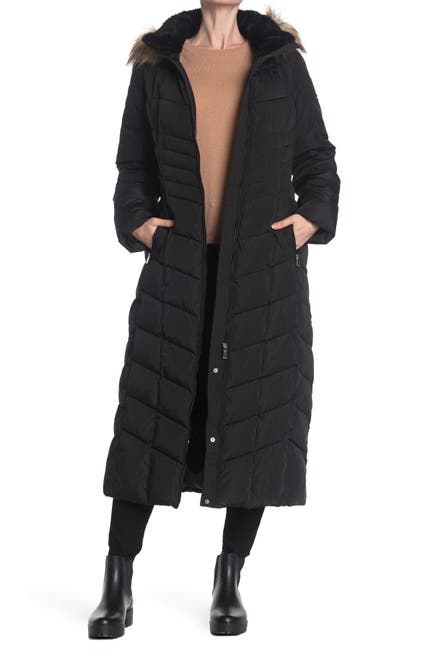 Image of Calvin Klein Faux Fur Trimmed Quilted Maxi Puffer Jacket