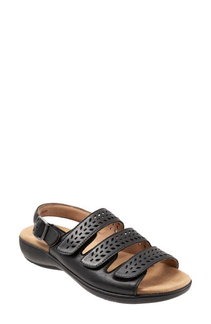 Trotters Trinity Slip On Sandal Women's Shoes In Black Leather