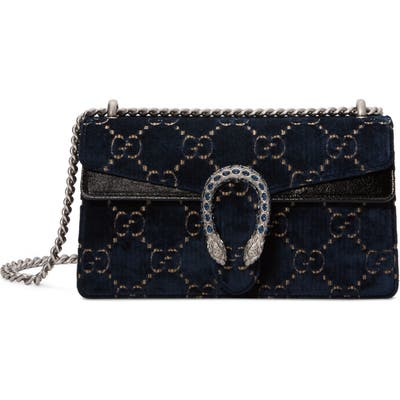 Gucci Small Embroidered Gg Velvet Shoulder Bag -