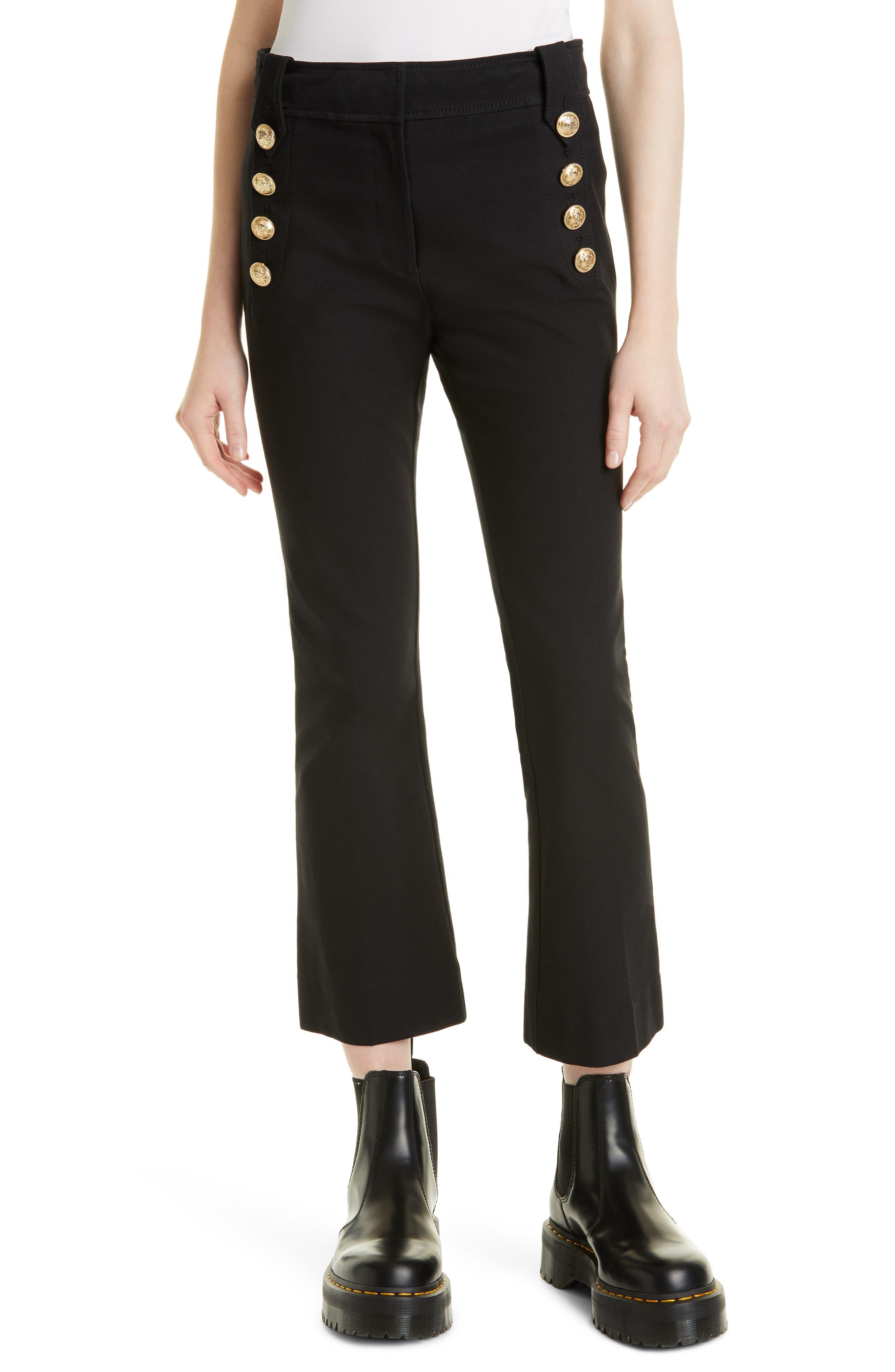 Robertson Crop Flare Stretch Cotton Sailor Pants